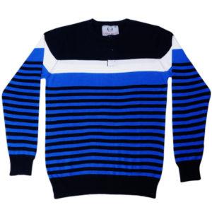 Cross Knits Striped Men's Round Neck Multi Color Sweatshirt