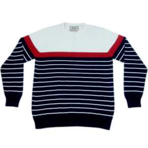 Cross Knits Striped Men's Round Neck Multicolor Sweatshirt