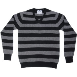 Cross Knits Striped Men's V-Neck Multi Color Sweatshirt