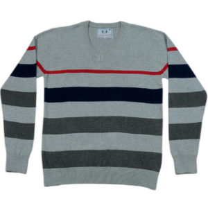 Cross Knits Striped Men's V-neck Multicolor Sweatshirt
